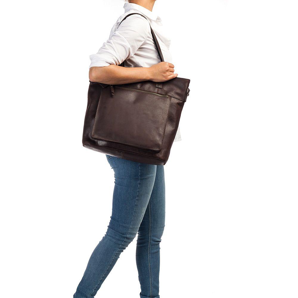 Laptoptas Burkely Jade Vintage Shopper Dark Brown 13 inch