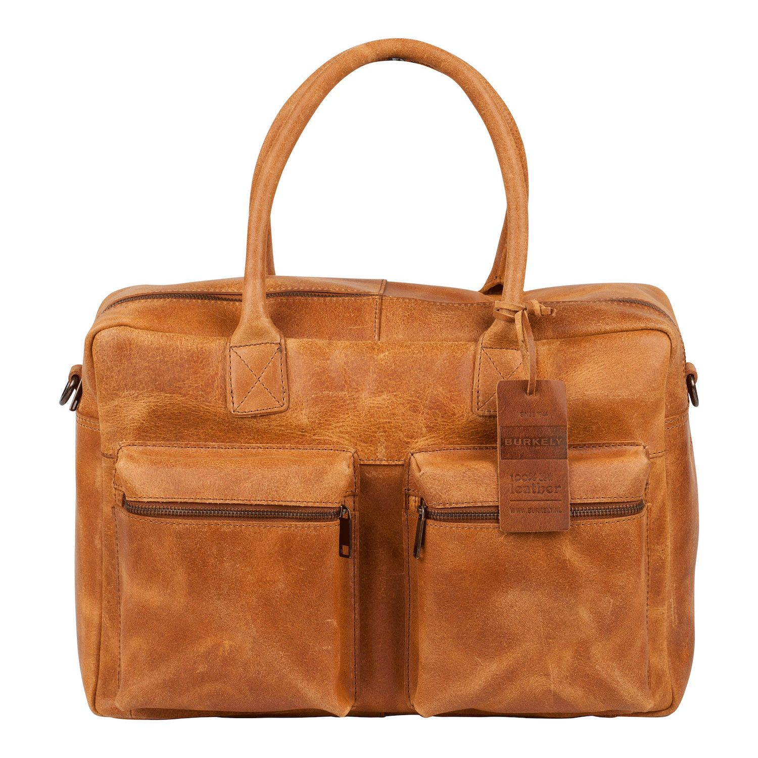 Laptoptas Burkely Alex Businessbag Vintage Shoulderbag Cognac 15 inch