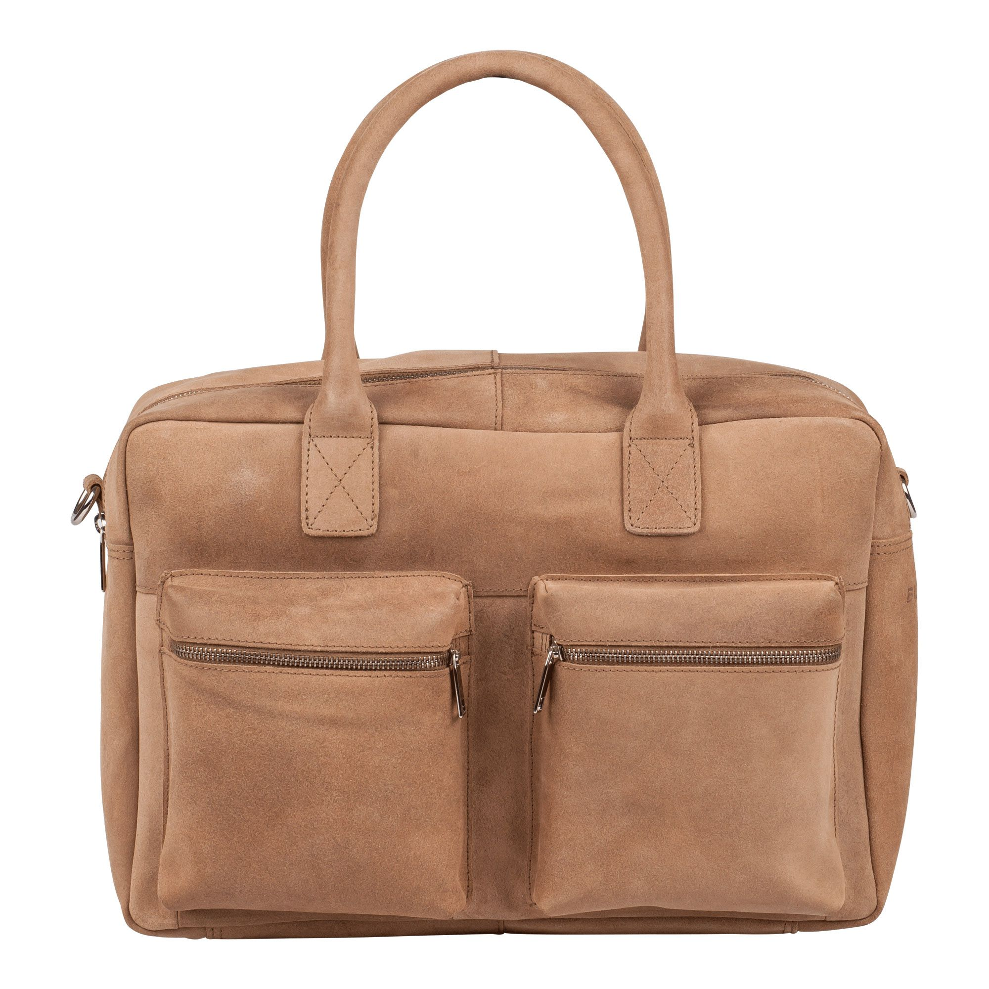 Laptoptas Burkely Alex Businessbag Vintage Shoulderbag Taupe 15 inch