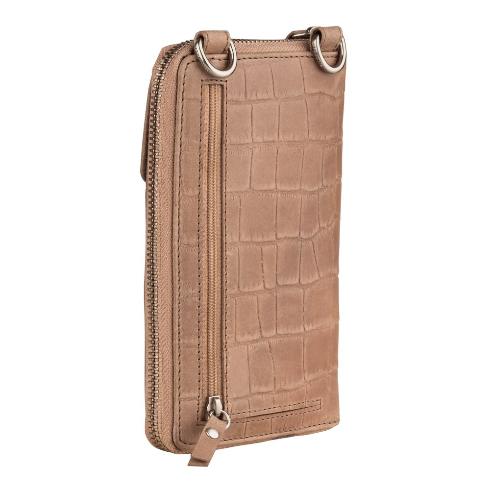 Burkely Dames Leren Phonebag Croco Caia Taupe