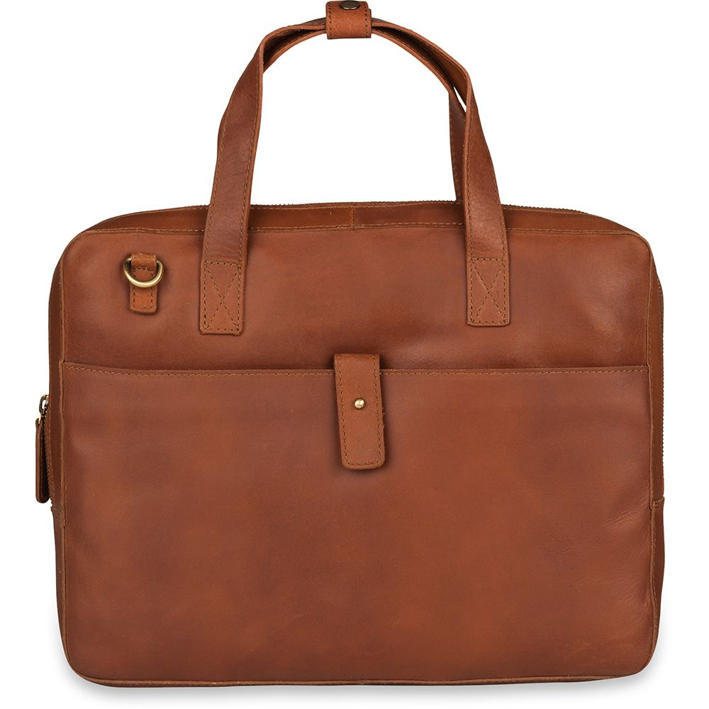 Laptoptas Burkely Leren Laptoptas 14 inch Fundamentals Vintage Noa Little Worker Cognac