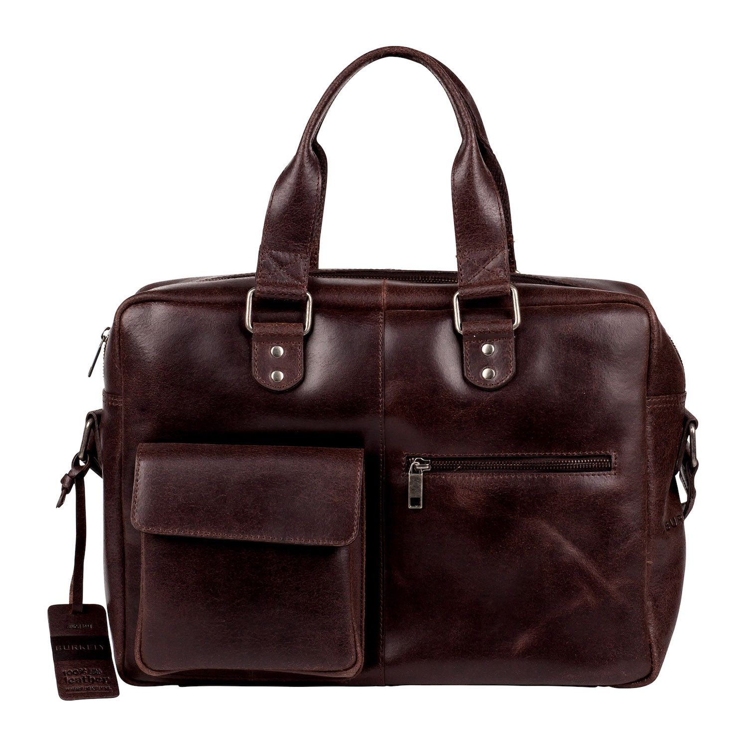Laptoptas Burkely Quinn Vintage Business Shoulderbag Dark Brown 14 inch