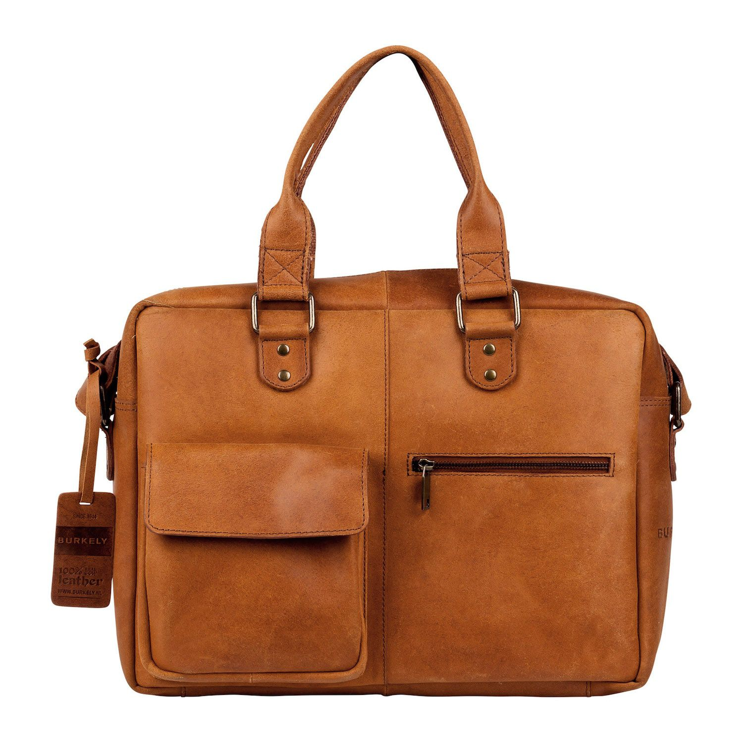 Laptoptas Burkely Quinn Vintage Business Shoulderbag Cognac 14 inch