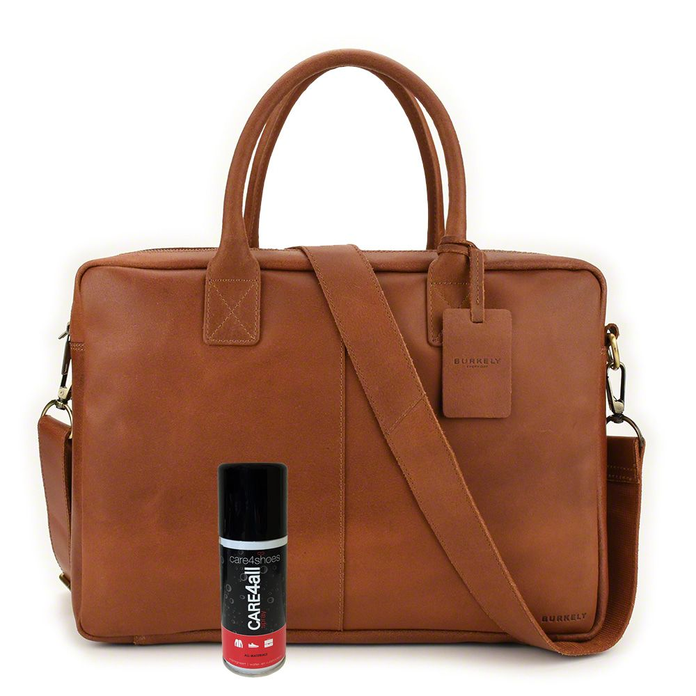 Laptoptas Burkely Leren Laptoptas 17 inch Fundamentals Vintage Taylor Worker Cognac + Gratis Spray