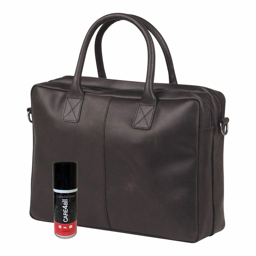 Laptoptas Burkely Taylor Business Vintage Shoulderbag Black 17 inch + Spray Bundel