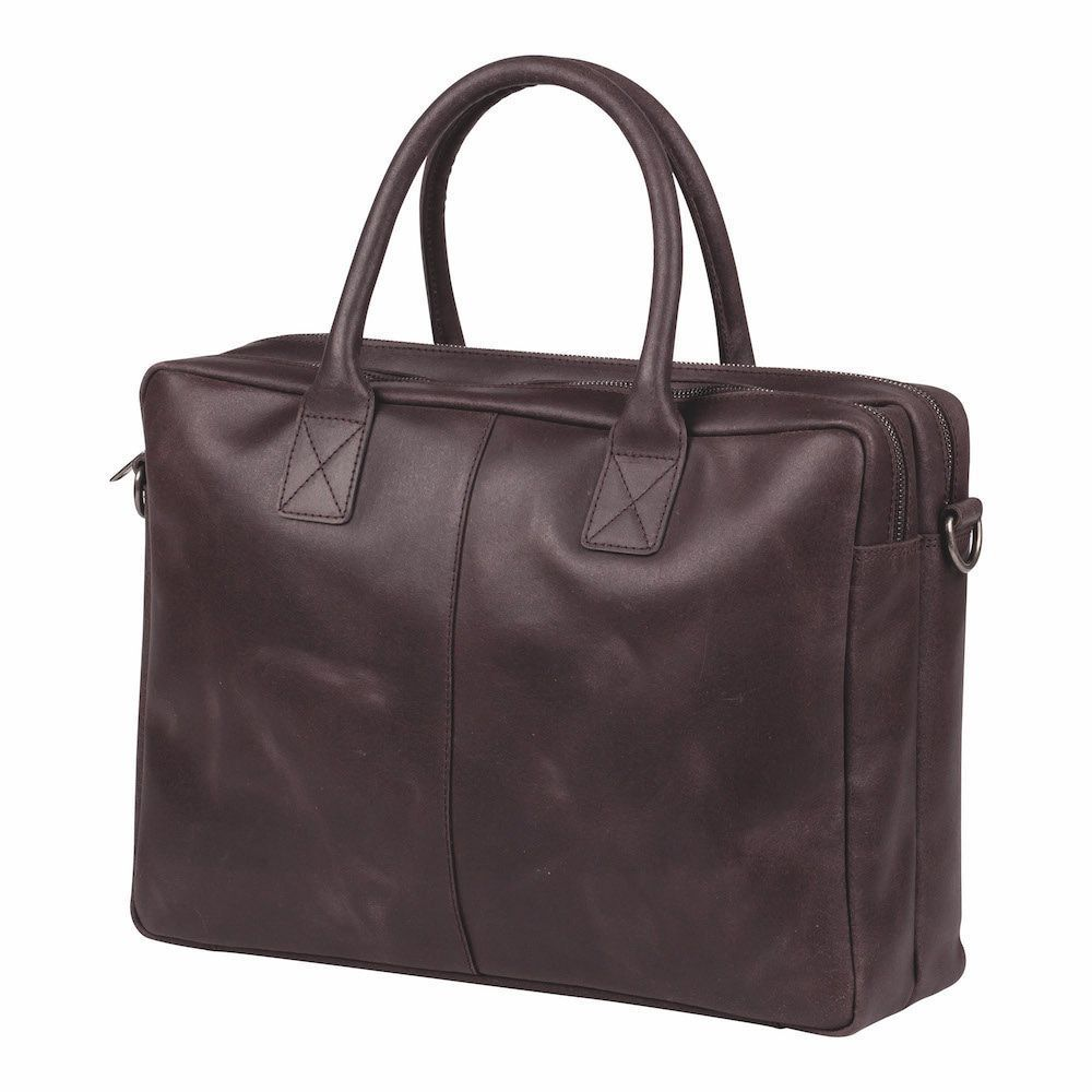 Laptoptas Burkely Taylor Business Vintage Shoulderbag Dark Brown 17 inch