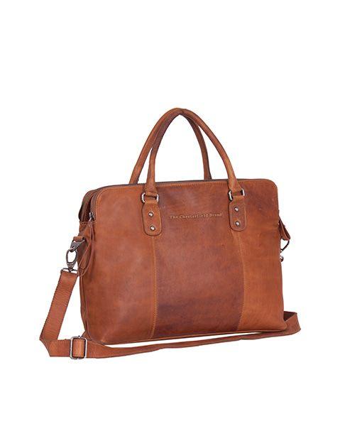 Laptoptas Chesterfield Maria 3-vaks Shoulderbag Cognac 15 inch