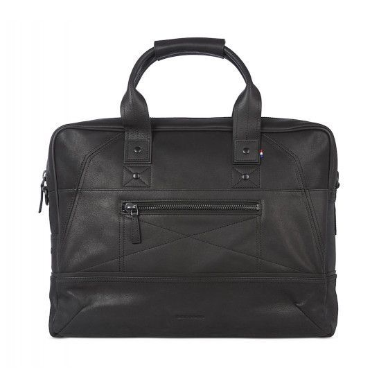 Decoded Leather Briefcase 15 inch Black Voorkant