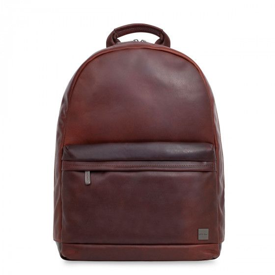 Knomo Albion Leather Laptop Backpack Brown 15 inch Voorkant