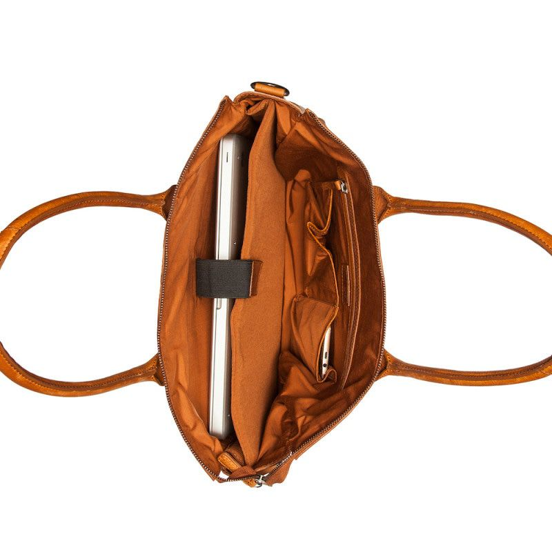 304aa4f53b4 Burkely Antique Avery Laptoptas Valerie Cognac 15.6 inch Open
