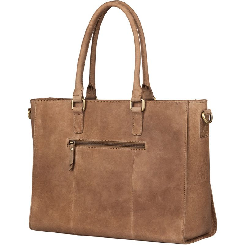 5b7ca8deea8 Burkely Dames Leren Laptoptas 15 inch Hunt Hailey Taupe Achterkant