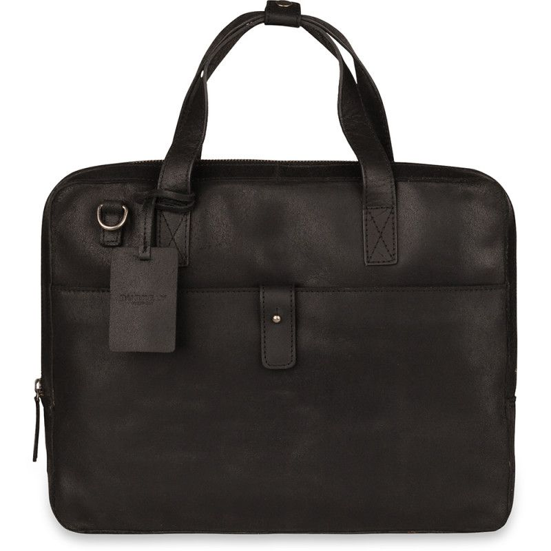 38538f6a166 Burkely Leren Laptoptas 14 inch Fundamentals Vintage Noa Little Worker  Zwart Voorkant