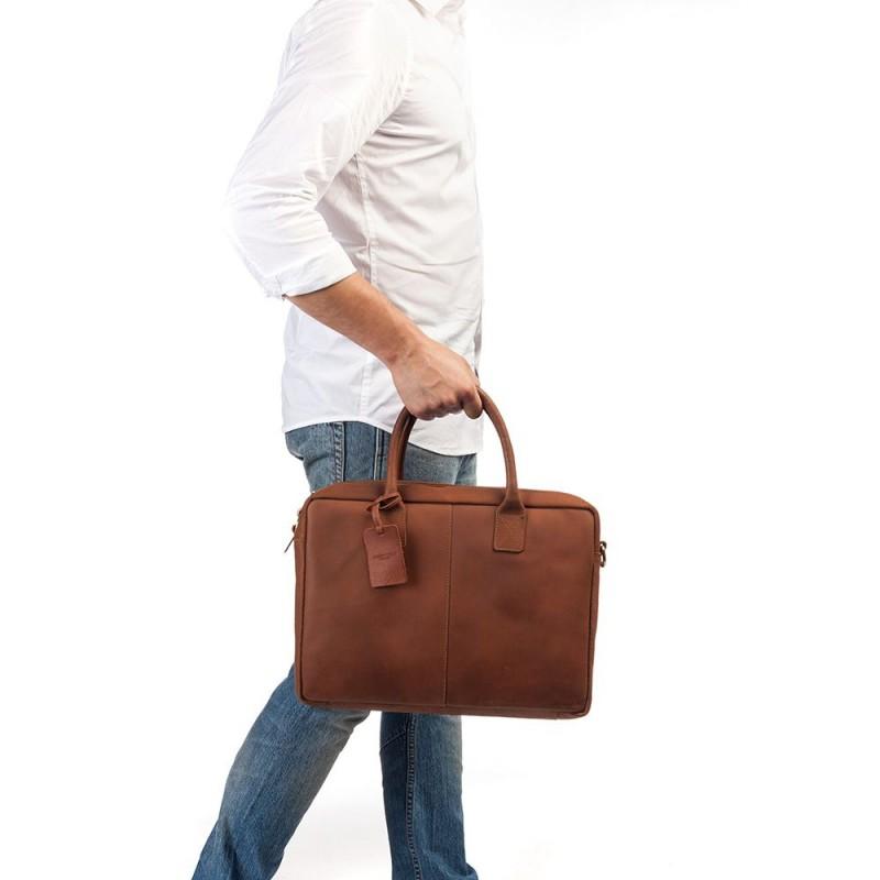 498563d7912 Burkely Leren Laptoptas 17 inch Fundamentals Vintage Taylor Worker Cognac  Model