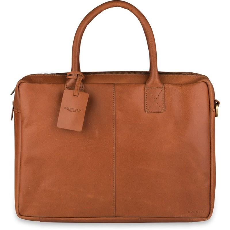 04332c176ad Burkely Leren Laptoptas 17 inch Fundamentals Vintage Taylor Worker Cognac  Voorkant