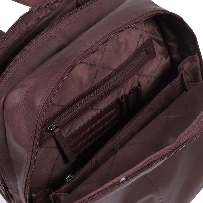 b64d3824122 Chesterfield Leren Laptop Rugtas 15 inch Dex Bruin Open