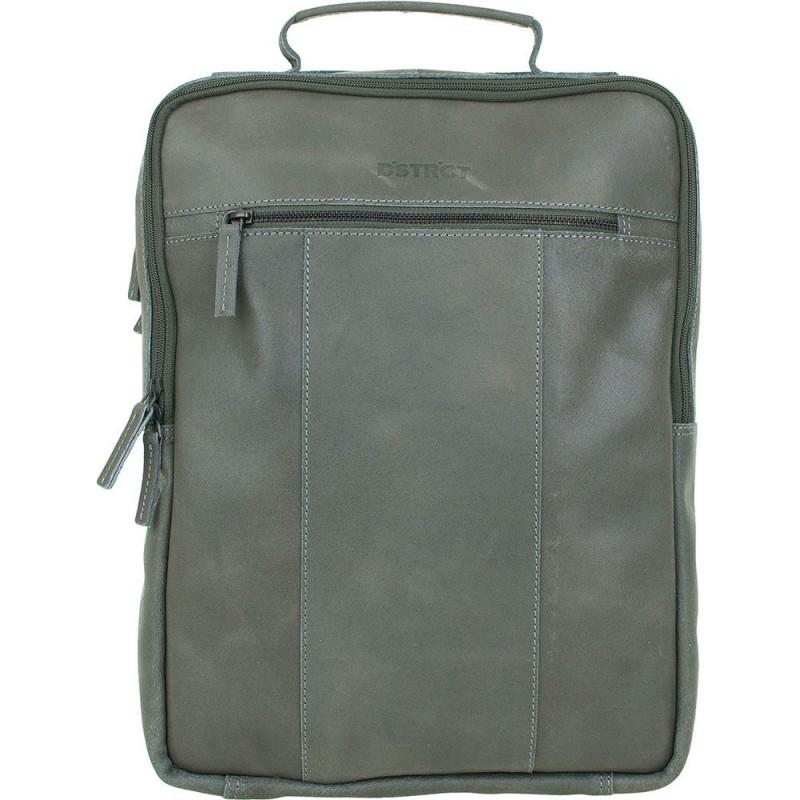 f6a4b7287c0 DSTRCT Leren Laptop Rugzak 15 inch River Side Grijs