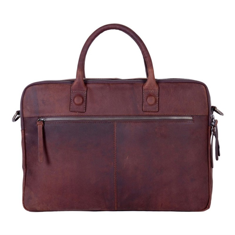 Dstrct Wall Street Business Laptop Bag Brown 15 17 Inch Achterkant