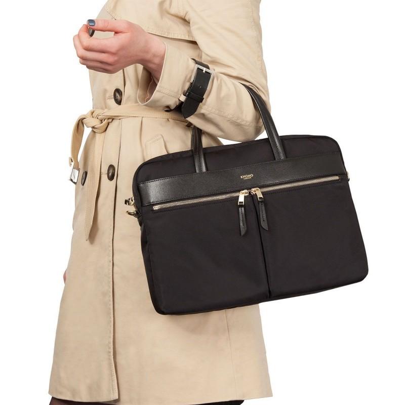 4edee0d8f39 Laptoptas Knomo Hanover Slim Briefcase Black 14 inch