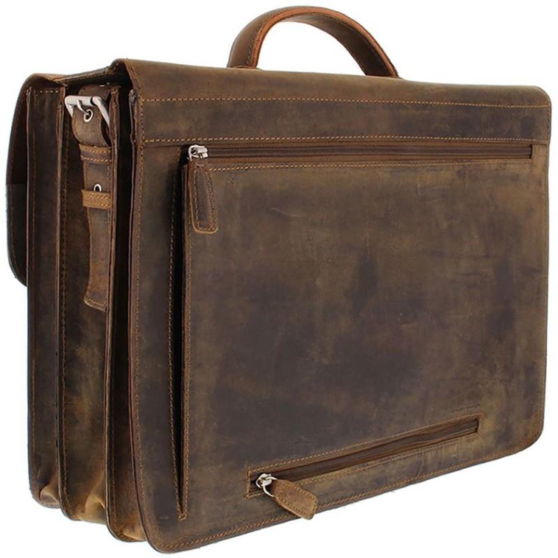 015619e4e4f Plevier Antiek Leren Business Laptoptas 3-Vaks Bruin 17 inch Achterkant