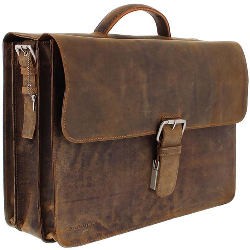 Wonderlijk Plevier Antiek Leren Business Laptoptas 3-Vaks Bruin 17 inch RC-06