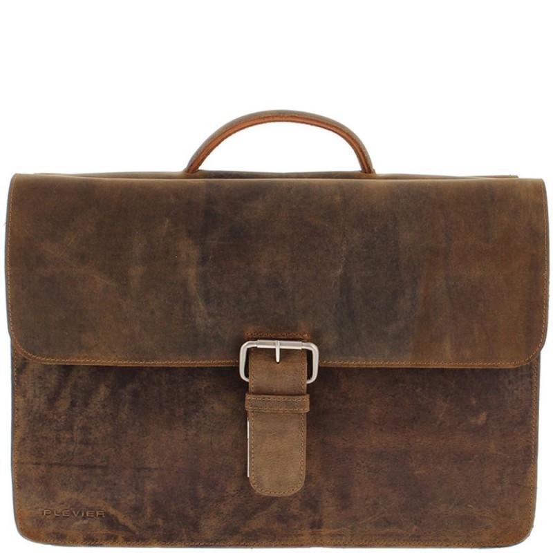 3f43a008324 Plevier Antiek Leren Business Laptoptas 3-Vaks Bruin 17 inch Voorkant