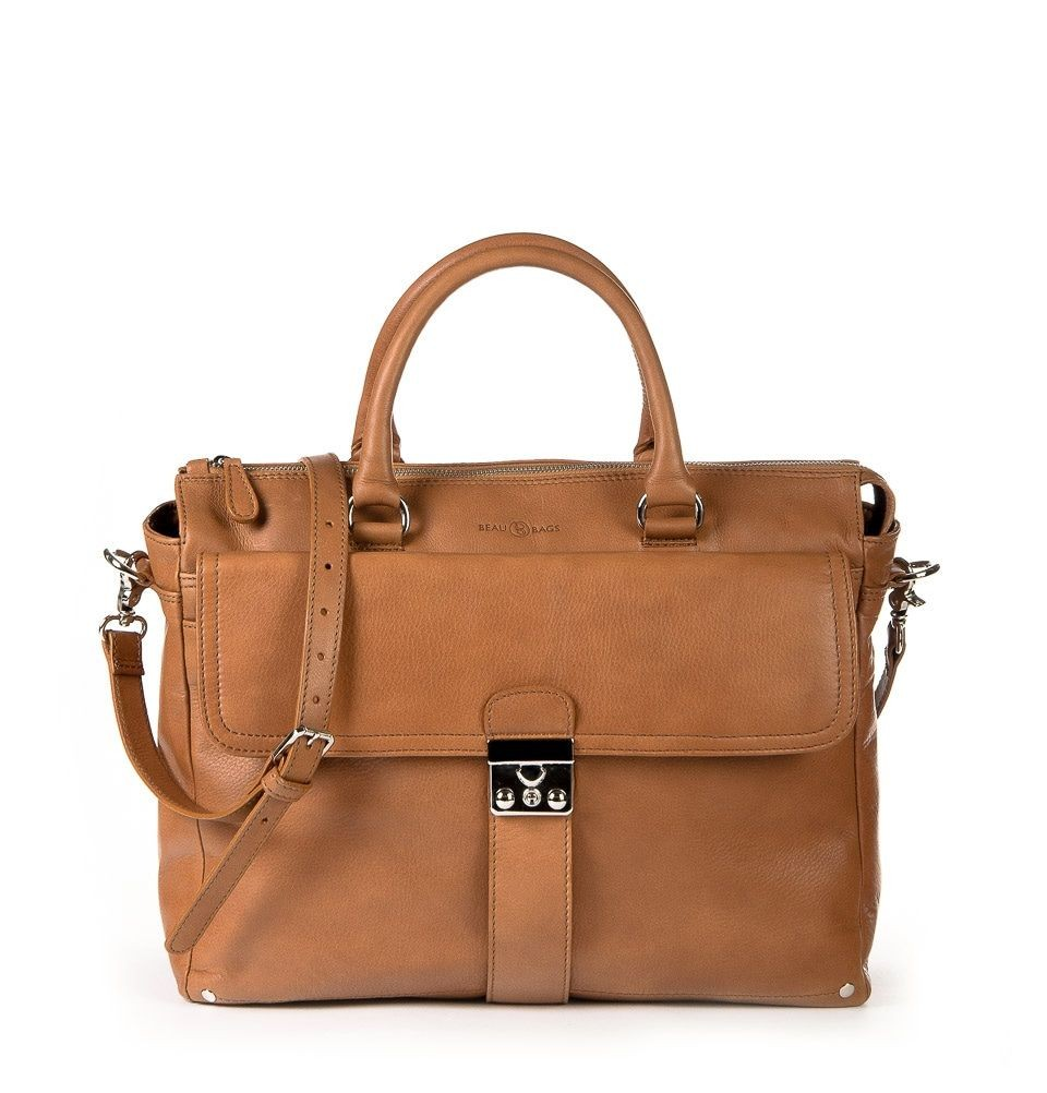 Macbook Tas Dames : Laptoptas beaubags kate cognac inch