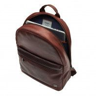 Knomo Albion Leather Laptop Backpack Brown 15 inch Open