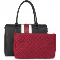 SOCHA Dames Laptoptas 15.6 inch BB Red Stripe Voorkant met uitneembare Laptopsleeve