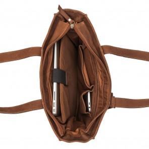 Burkely Braid Britt Shopper Camel 13.3 inch Open