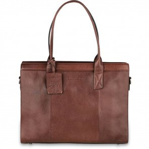 Burkely Leren Laptoptas Handbag 14 inch Suburb Seth Bruin Voorkant
