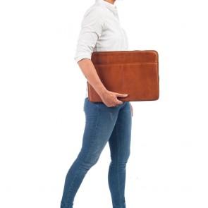 Burkely Leren Laptop Sleeve 15.6 inch Fundamentals Vintage Josh Cognac Model