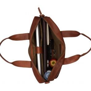 Burkely Leren Laptoptas 15.6 inch Fundamentals Vintage River Worker Cognac Open