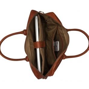 3428d68a703 Burkely Leren Laptoptas 17 inch Fundamentals Vintage Max Big Worker Cognac