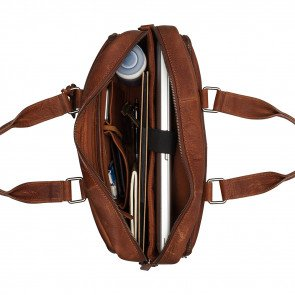 Burkely Leren Laptoptas Workbag 15.6 inch Antique Avery Cognac Open