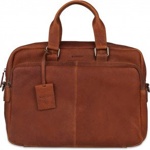Burkely Leren Laptoptas Workbag 15.6 inch Antique Avery Cognac Voorkant