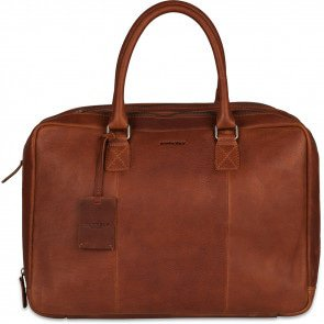 Burkely Leren Laptoptas Worker 15.6 inch Antique Avery Cognac Voorkant