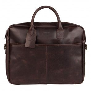 Burkely Max Vintage Business Shoulderbag Dark Brown 17 inch Voorkant
