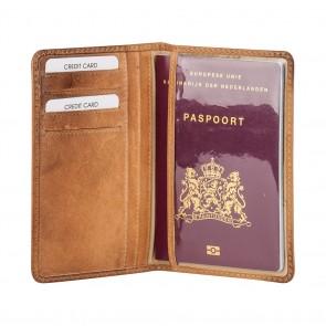 Burkely Noble Nova Passport Cover Cognac Binnenkant