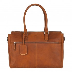 Burkely On The Move Laptopbag Zipper Cognac 15 inch Voorkant