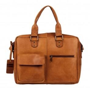 Burkely Quinn Vintage Business Shoulderbag Cognac 14 inch Voorkant
