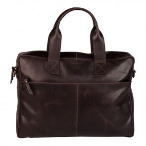 Burkely River Vintage Business Shoulderbag Brown 15 inch Voorkant