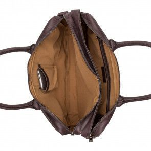 Burkely laptoptas Vintage Shoulderbag Dark Brown 17 inch Binnenkant