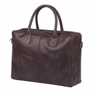 Burkely laptoptas Vintage Shoulderbag Dark Brown 17 inch Voorkant