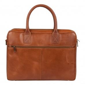 Burkely laptoptas Vintage Shoulderbag Cognac 17 inch Achterkant