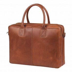 Burkely laptoptas Vintage Shoulderbag Cognac 17 inch Voorkant