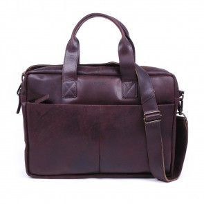 Burkely laptoptas Vintage Shoulderbag Dark Brown 13 inch voorkant