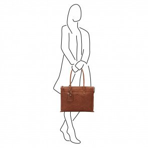 Castelijn & Beerens Dames Leren Laptoptas 15.6 inch RFID Carisma Sofia Cognac Model