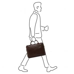 Castelijn & Beerens Heren Leren Laptoptas 15.6 inch 3 Vaks RFID Firenze Mocca Model