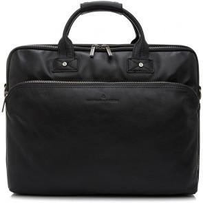 Castelijn & Beerens Heren Leren Laptoptas 17 inch 3 Vaks RFID Firenze Zwart Voorkant