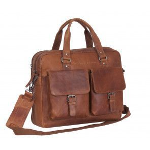 Chesterfield Dylan Businessbag Cognac 17 inch Voorkant
